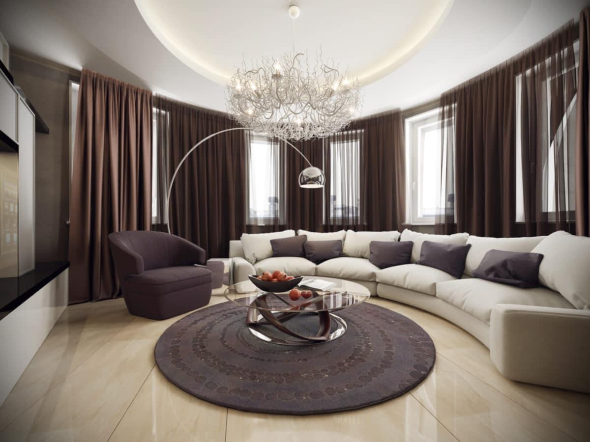 Гостиная в  цветах:   Бежевый, Светло-серый, Серый, Темно-коричневый, Черный.  Гостиная в  стиле:   Неоклассика.