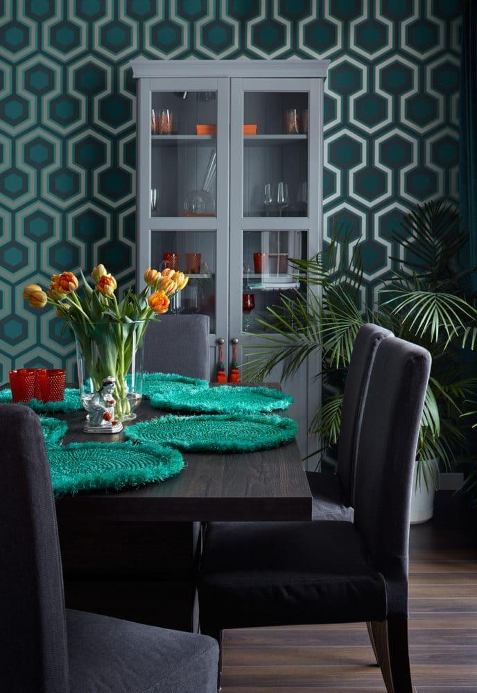 Кухня/столовая в  цветах:   Серый, Синий, Черный.  Кухня/столовая в  стиле:   Минимализм.