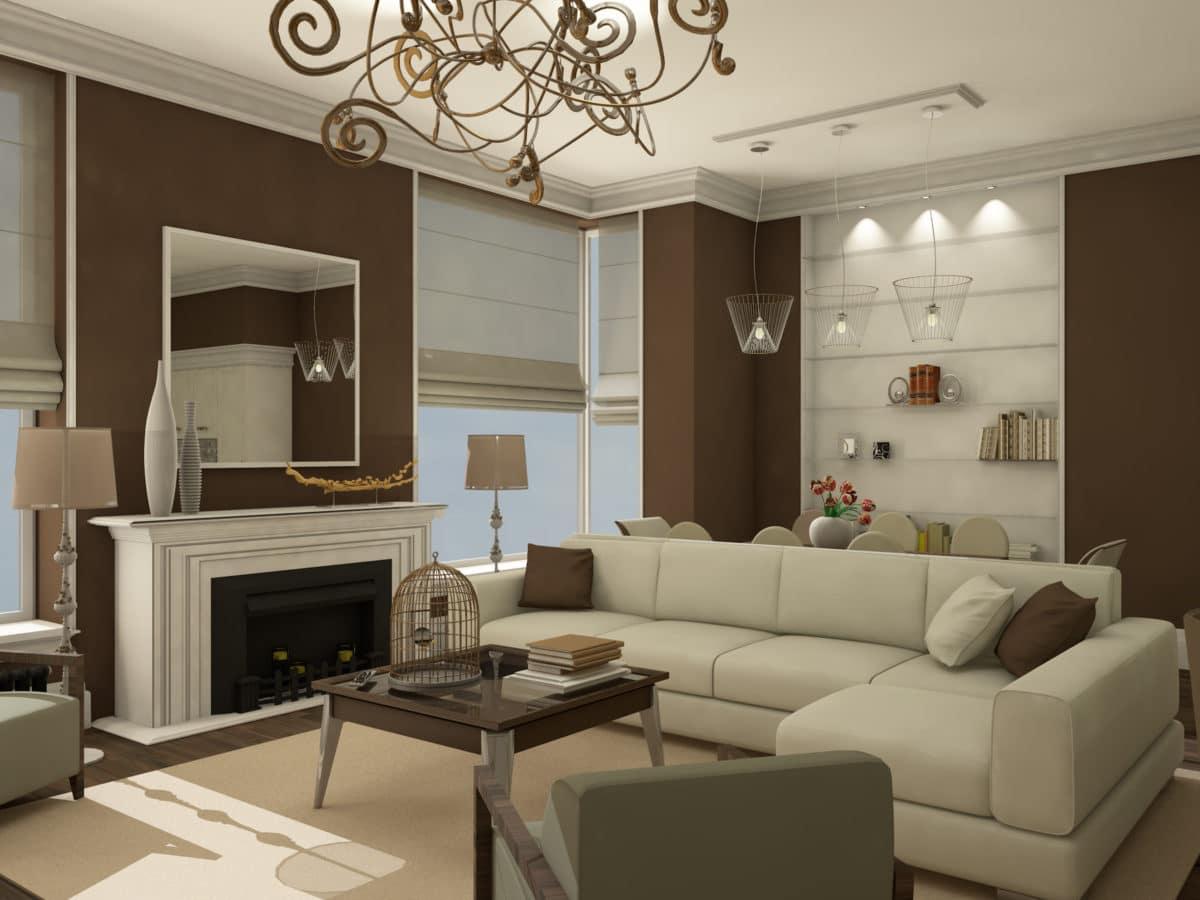 Трёхкомнатная квартира в американском стиле в оттенках кофе с молоком