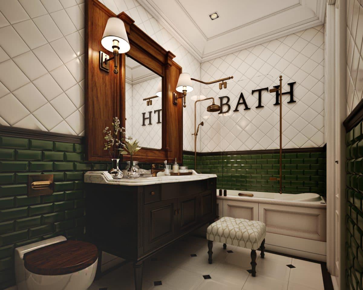 Ванная в  цветах:   Бежевый, Коричневый, Светло-серый, Темно-коричневый, Черный.  Ванная в  стиле:   Неоклассика.