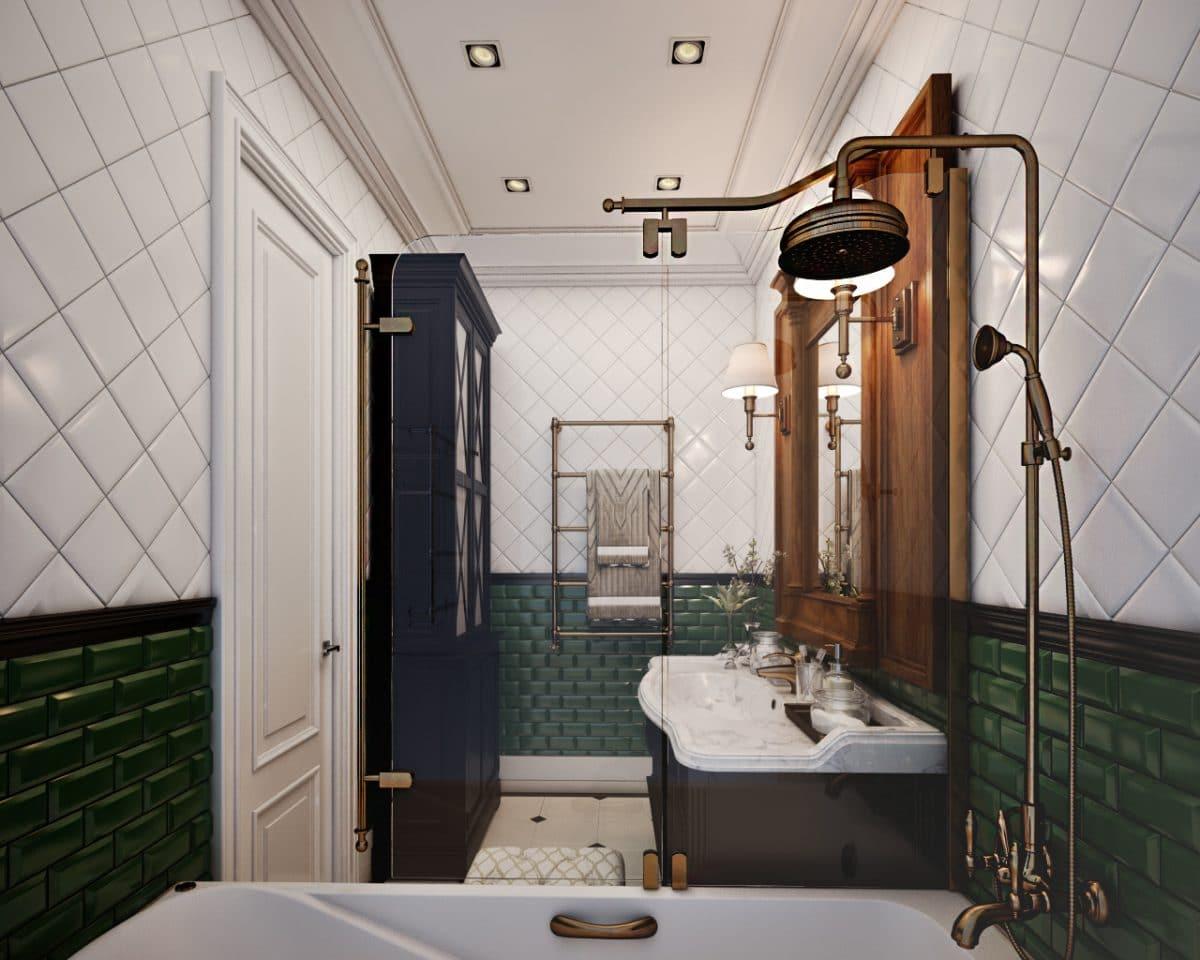 Ванная в  цветах:   Бежевый, Светло-серый, Серый, Темно-коричневый, Черный.  Ванная в  стиле:   Неоклассика.