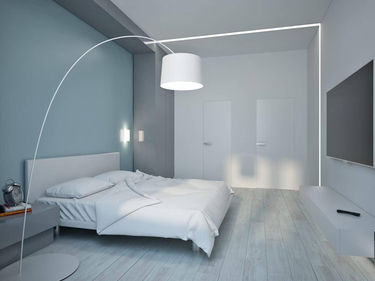 Спальня в  цветах:   Светло-серый, Серый, Синий.  Спальня в  стиле:   Минимализм.
