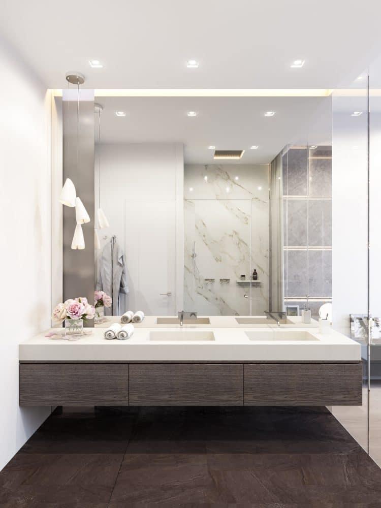 Ванная в  цветах:   Белый, Светло-серый, Серый, Темно-коричневый, Черный.  Ванная в  стиле:   Минимализм.
