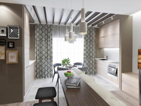Кухня/столовая в  цветах:   Белый, Светло-серый, Серый, Темно-коричневый, Бежевый.  Кухня/столовая в  стиле:   Скандинавский.