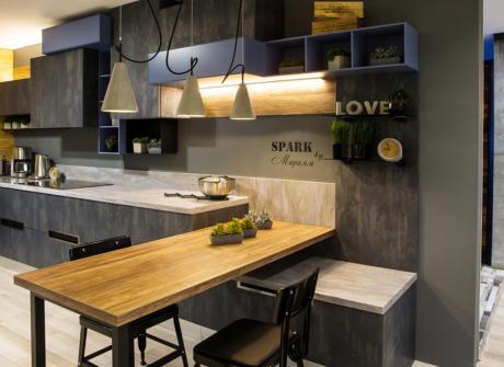 Кухня/столовая в  цветах:   Светло-серый, Серый, Черный, Темно-коричневый, Бежевый.  Кухня/столовая в  стиле:   Лофт.