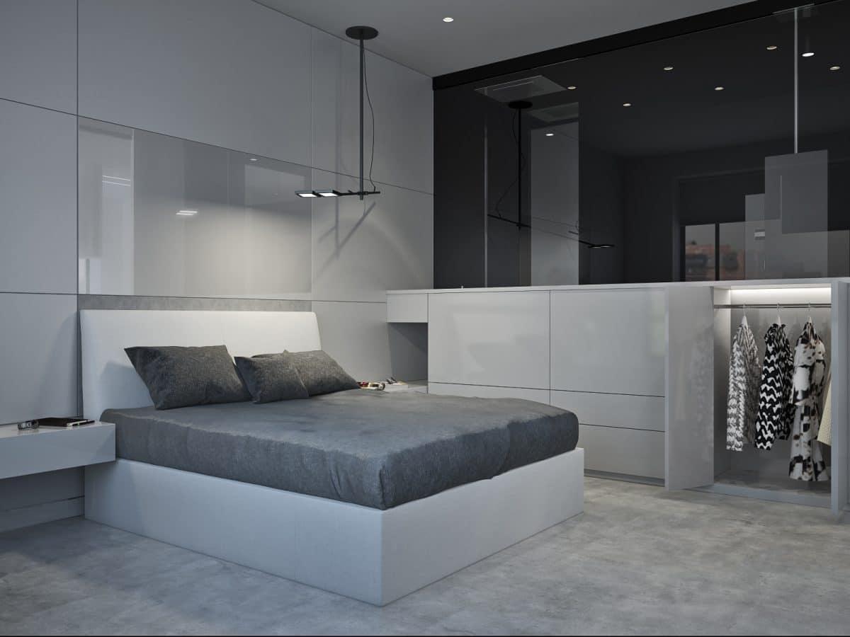 Спальня в  цветах:   Светло-серый, Серый, Синий, Черный.  Спальня в  стиле:   Минимализм.