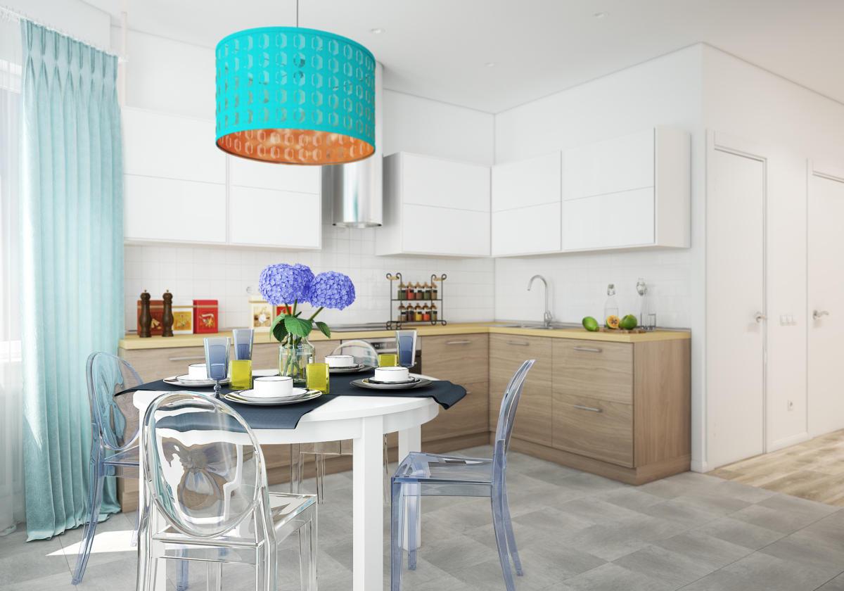 Кухня/столовая в  цветах:   Бежевый, Бирюзовый, Бордовый, Голубой, Светло-серый.  Кухня/столовая в  стиле:   Скандинавский.