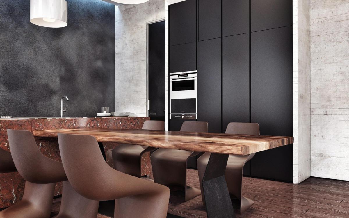 Кухня/столовая в  цветах:   Бирюзовый, Бордовый, Красный, Светло-серый.  Кухня/столовая в  стиле:   Лофт.
