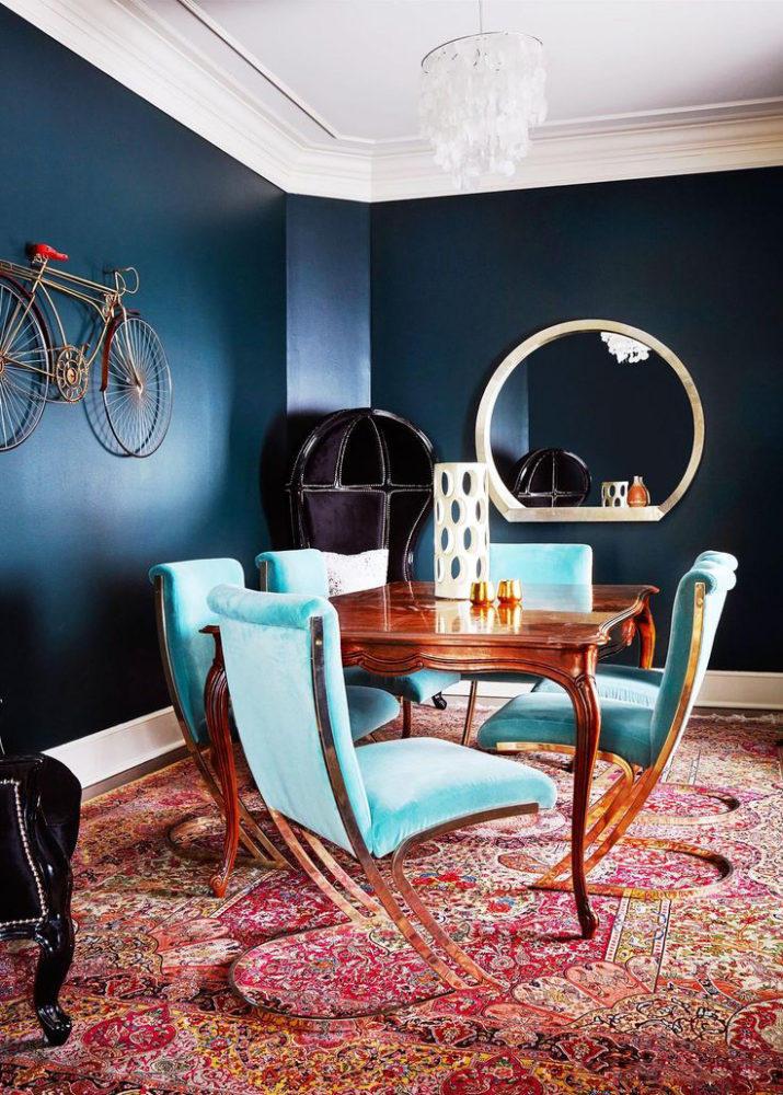 Кухня/столовая в  цветах:   Бирюзовый, Красный, Оранжевый, Синий.  Кухня/столовая в  стиле:   Эклектика.
