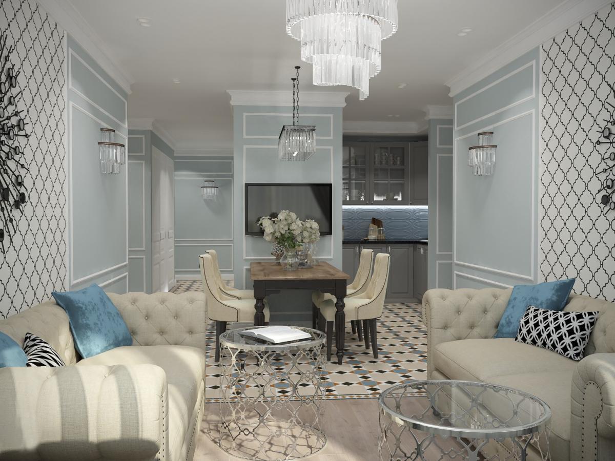Американский стиль и лёгкий шик в московской квартире