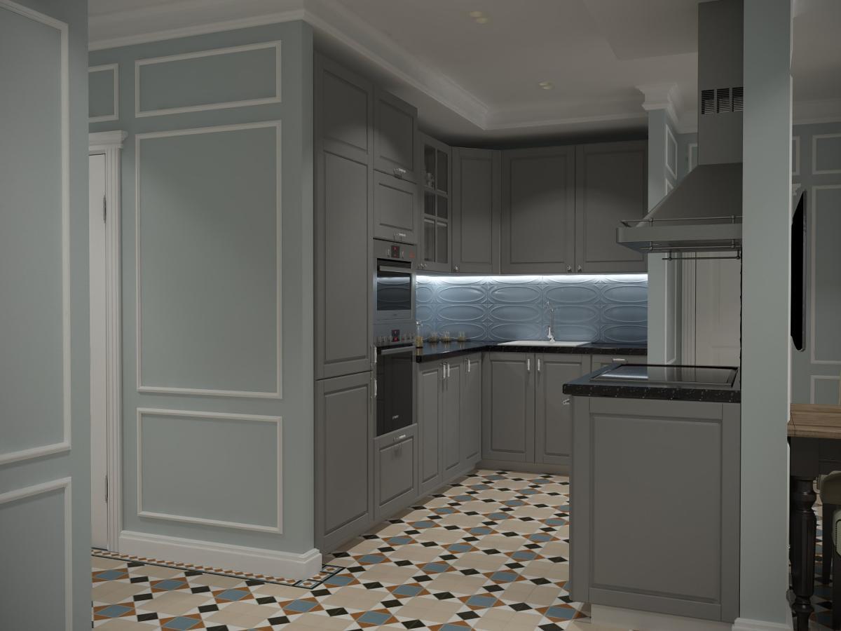 Кухня/столовая в  цветах:   Бирюзовый, Светло-серый, Серый, Темно-коричневый.  Кухня/столовая в  стиле:   Неоклассика.