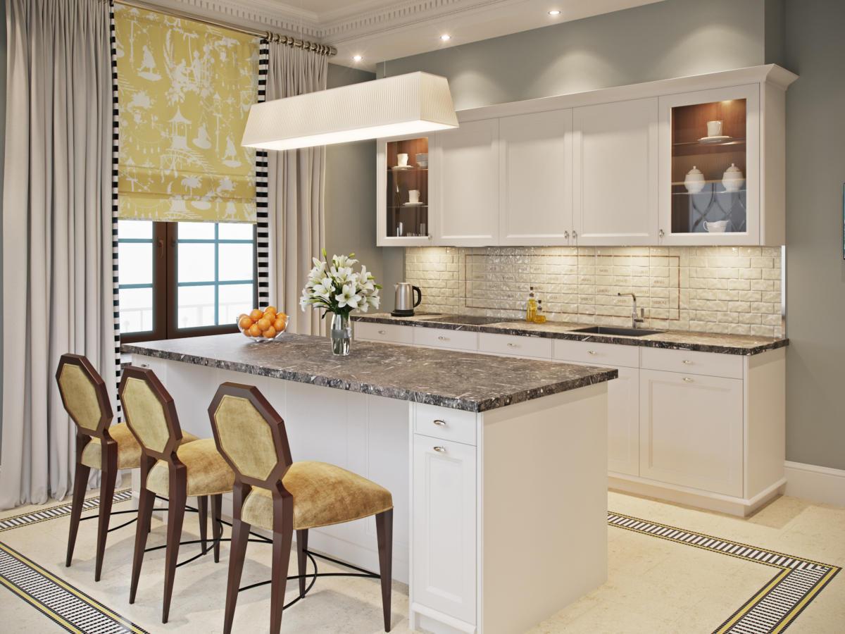 Кухня/столовая в  цветах:   Бежевый, Коричневый, Светло-серый, Темно-коричневый.  Кухня/столовая в  стиле:   Неоклассика.