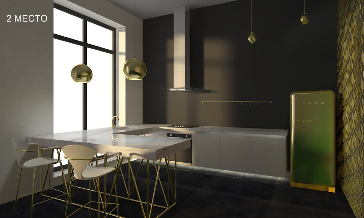 Кухня/столовая в  цветах:   Бежевый, Зеленый, Серый, Темно-зеленый.  Кухня/столовая в  стиле:   Минимализм.