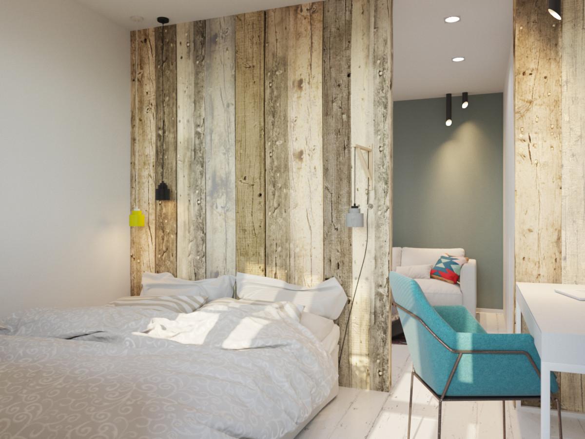 Спальня в  цветах:   Бежевый, Бирюзовый, Темно-коричневый.  Спальня в  стиле:   Минимализм.