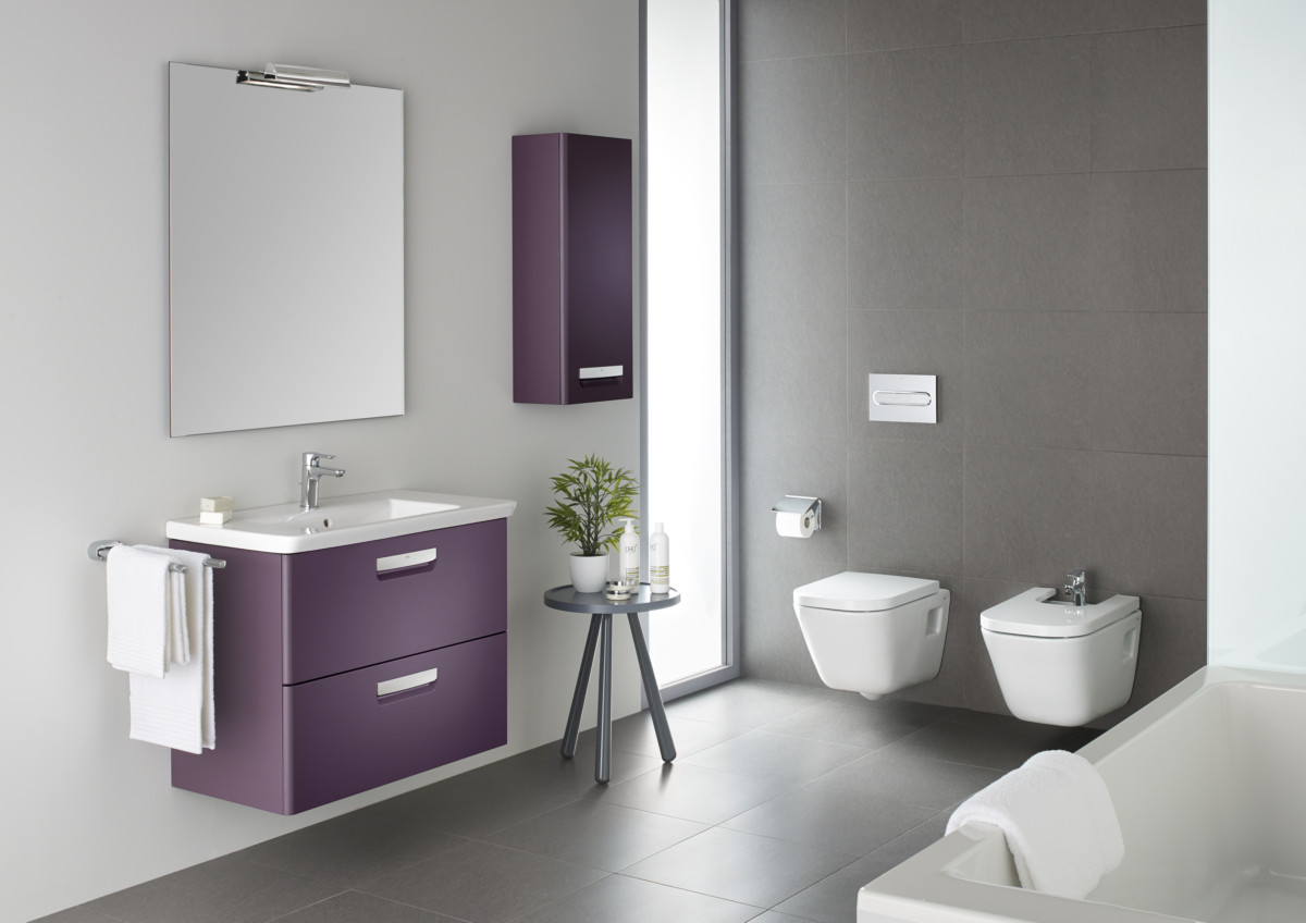 Ванная в  цветах:   Светло-серый, Серый, Сиреневый, Темно-зеленый, Фиолетовый.  Ванная в  стиле:   Минимализм.