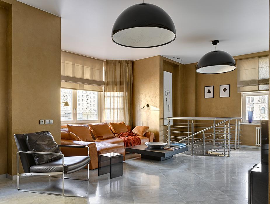 Мужской интерьер, состоящий из двух квартир, с бесподобной лестницей