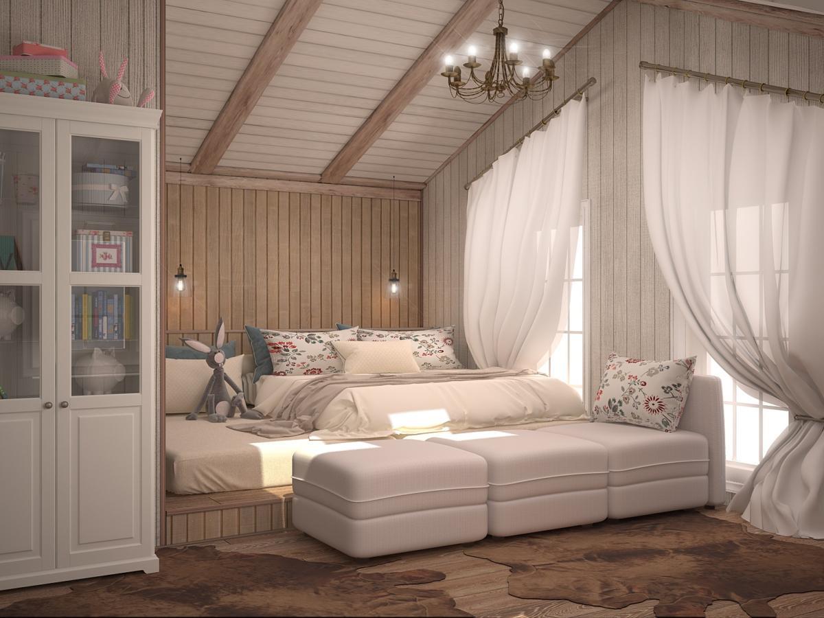 Спальня в  цветах:   Коричневый, Оранжевый, Светло-серый, Темно-коричневый.  Спальня в  стиле:   Кантри.
