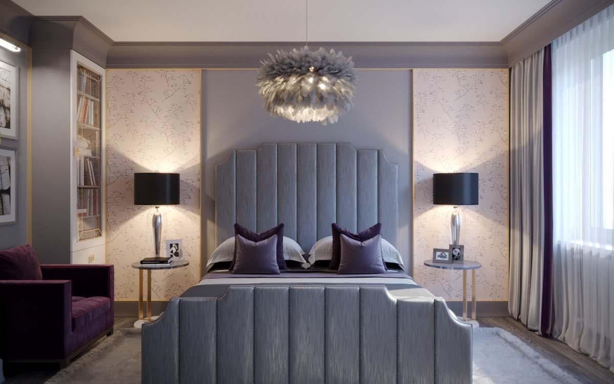 Спальня в  цветах:   Светло-серый, Серый, Фиолетовый.  Спальня в  стиле:   Арт-деко.