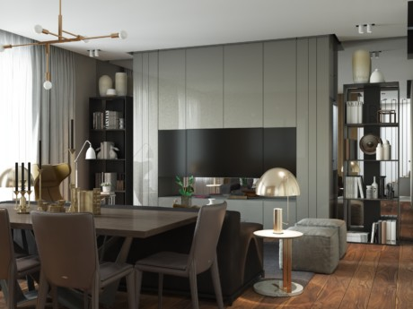 Кухня/столовая в  цветах:   Бежевый, Коричневый, Светло-серый.  Кухня/столовая в  стиле:   Минимализм.
