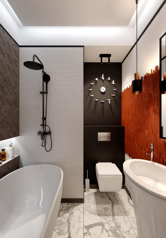 Ванная в  цветах:   Бежевый, Бордовый, Коричневый, Темно-коричневый.  Ванная в  стиле:   Лофт.