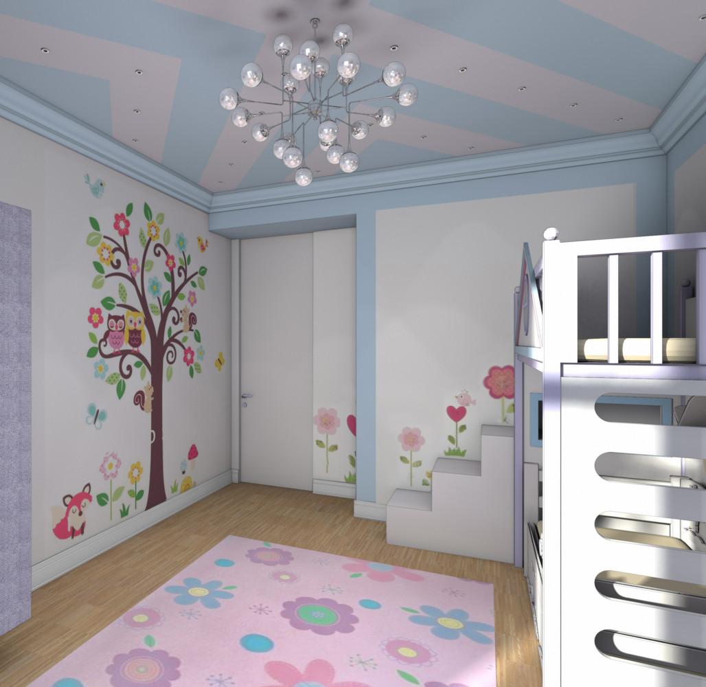 Эскиз детской комнаты квартиры в ЖК «4 солнца». Квартиру сейчас декорируем. Планируем фотосъёмку.