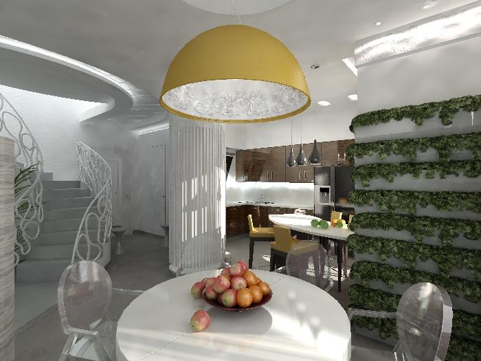 Первый этаж двухуровневой квартиры — студия. На эскизе видна лестница на второй этаж, вход в квартиру и кухня со столовой.