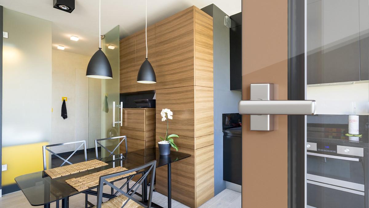 Кухня/столовая в  цветах:   Бежевый, Коричневый, Светло-серый, Темно-коричневый.  Кухня/столовая в  стиле:   Минимализм.