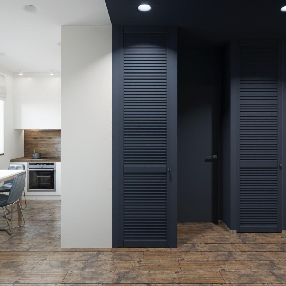 Когда в проекте предусмотрена постирочная, хозблок и вход в санузел...необходимо скрыть три двери ...мы работаем с цветом.