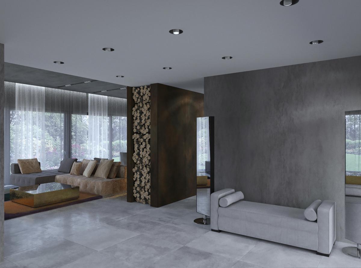 Облицовка камина Laminam, по сторонам камина — дровницы , стены и потолок — покрытие микроцемент, уютная банкетка в холле.