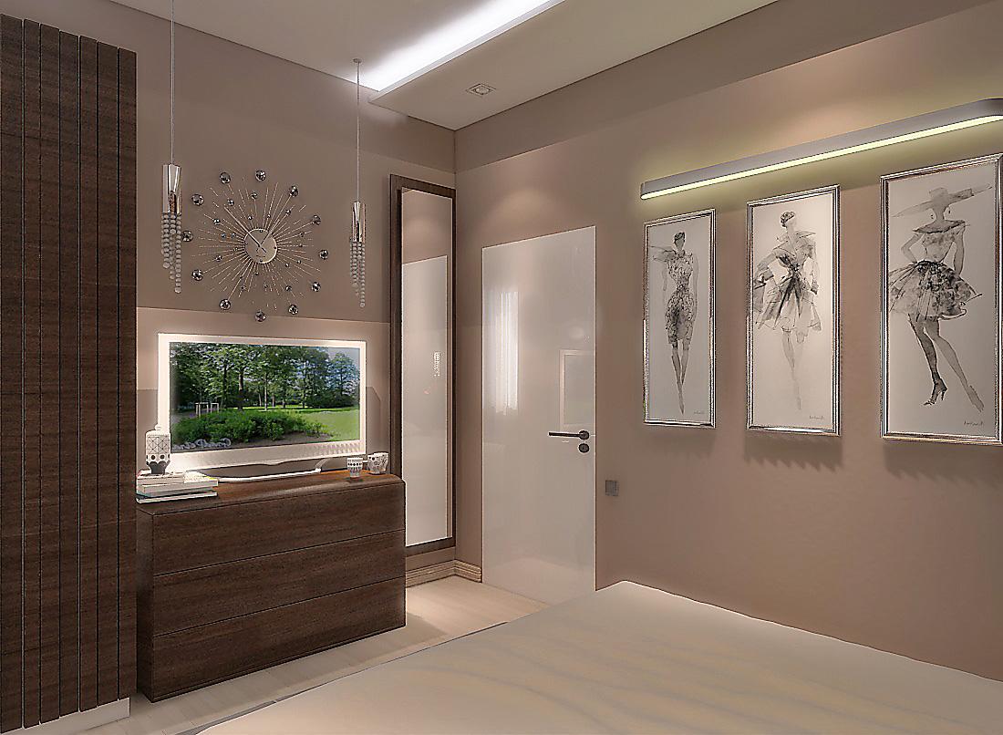Цветовая гамма для спальни — серо-бежевая, отлично сочетается с деревом цвета орех. На потолке — карнизы с подсветкой.