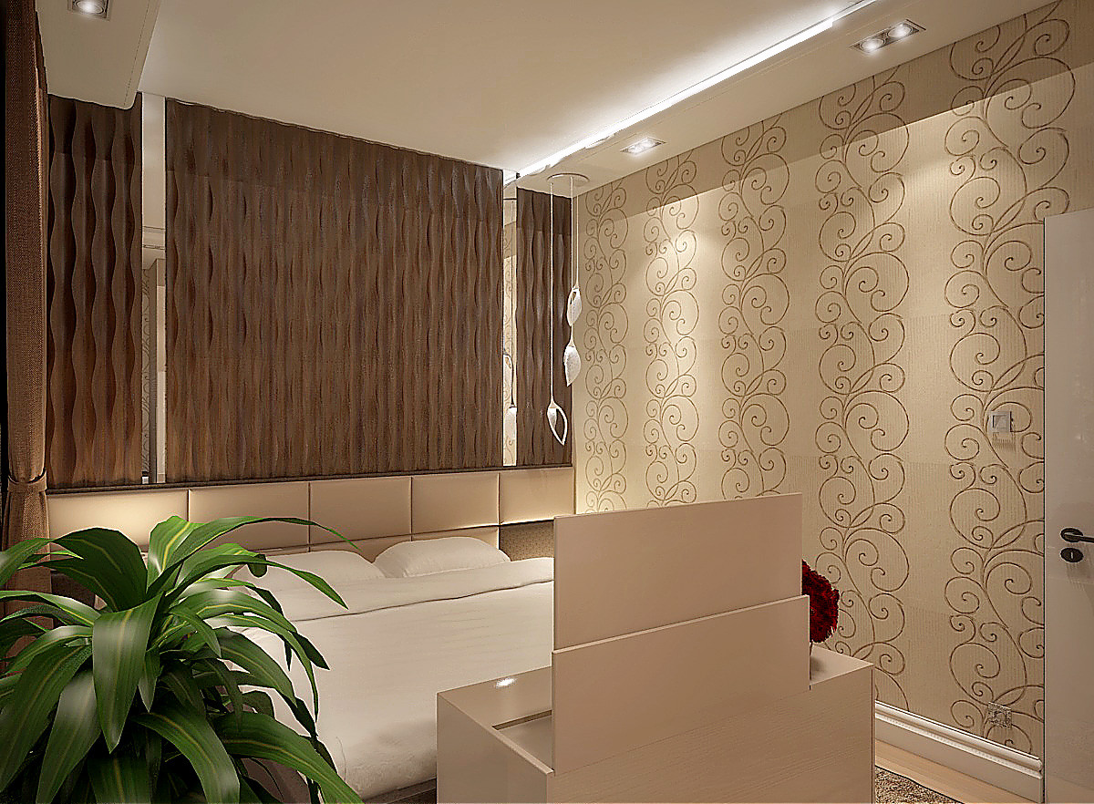 Стена у изголовья декорирована деревянной панелью из ореха и зеркалом. На стенах использовали обои.