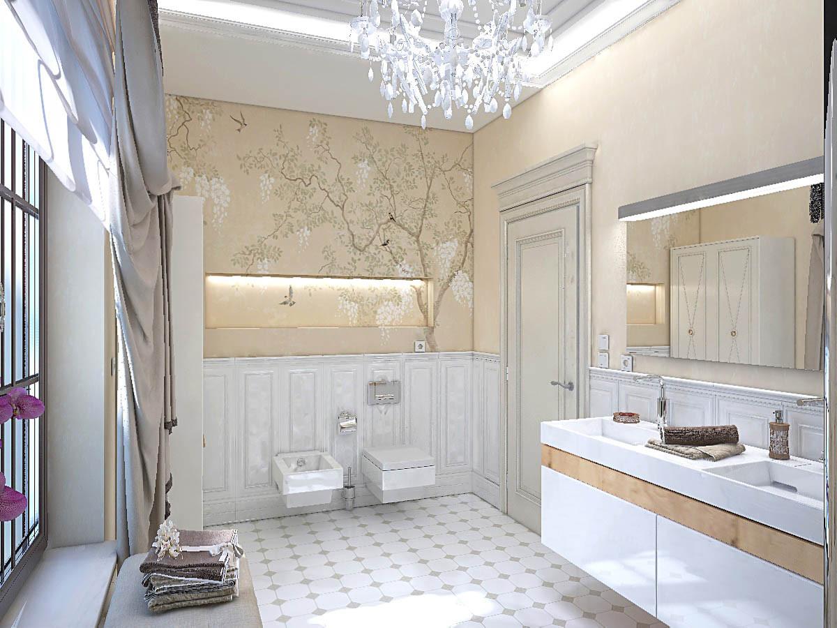 Туалетная комната имеет вытянутую прямоугольную форму. Декор стен — роспись, которая переходит из ниши на стену.