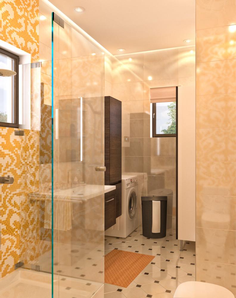 На втором этаже расположилась душевая. В отделке помещения использовано мозаичное панно в жёлтой гамме.
