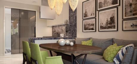 Кухня/столовая в  цветах:   Бежевый, Темно-коричневый.  Кухня/столовая в  стиле:   Минимализм.