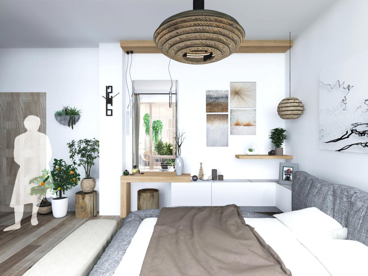 Спальня в  цветах:   Бежевый, Коричневый, Светло-серый, Серый, Темно-зеленый.  Спальня в  стиле:   Минимализм.