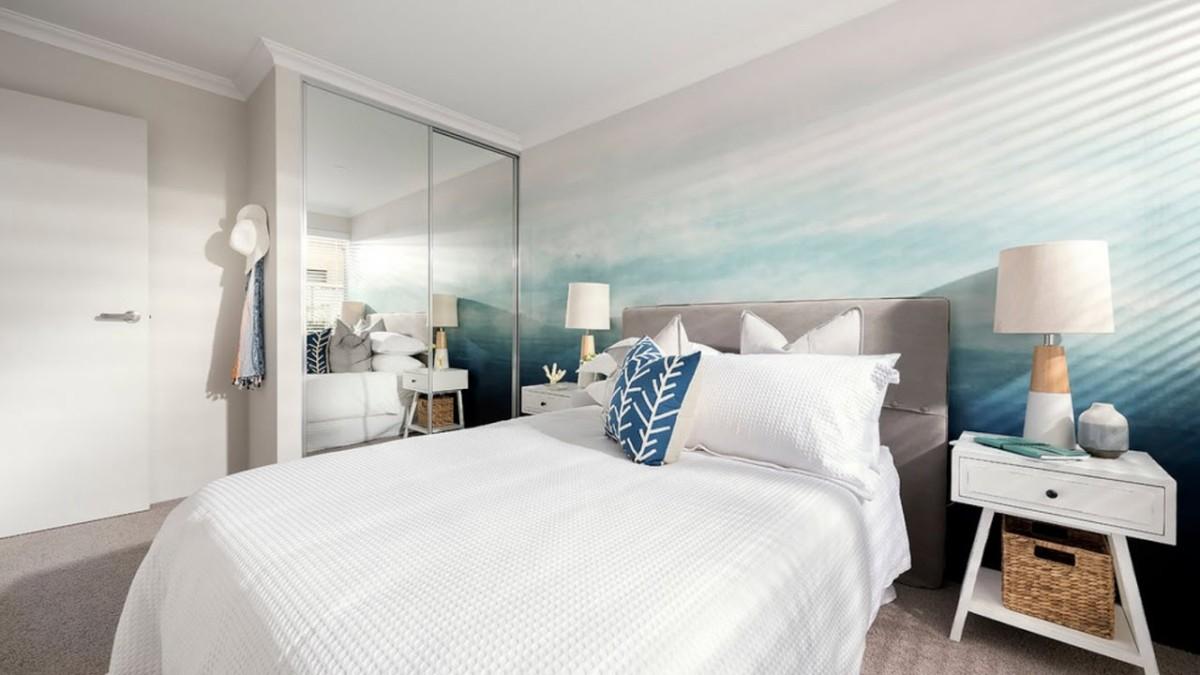 Спальня в  цветах:   Коричневый, Светло-серый, Серый, Синий.  Спальня в  стиле:   Минимализм.