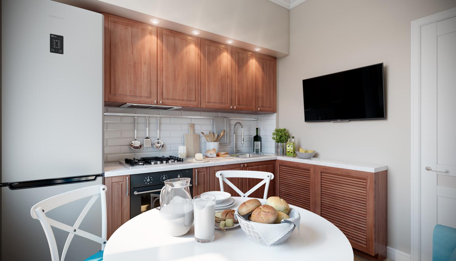 интерьер кухни и обеденной зоной