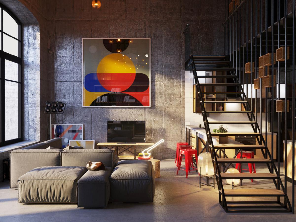 Как живут фотографы: яркая двухуровневая квартира с панорамными окнами