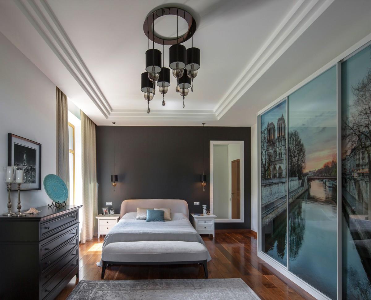 Спальня в  цветах:   Бежевый, Бирюзовый, Светло-серый, Серый, Фиолетовый.  Спальня в  стиле:   Неоклассика.