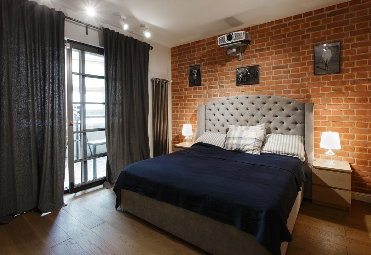 Спальня в  цветах:   Бежевый, Коричневый, Розовый, Серый, Темно-коричневый.  Спальня в  стиле:   Лофт.