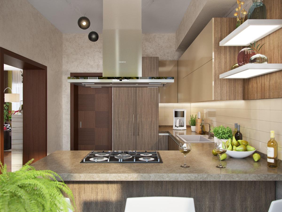 Полуостров — отличное решение для этого пространства. Во время готовки хозяйка может общаться с членами семьи или гостями.