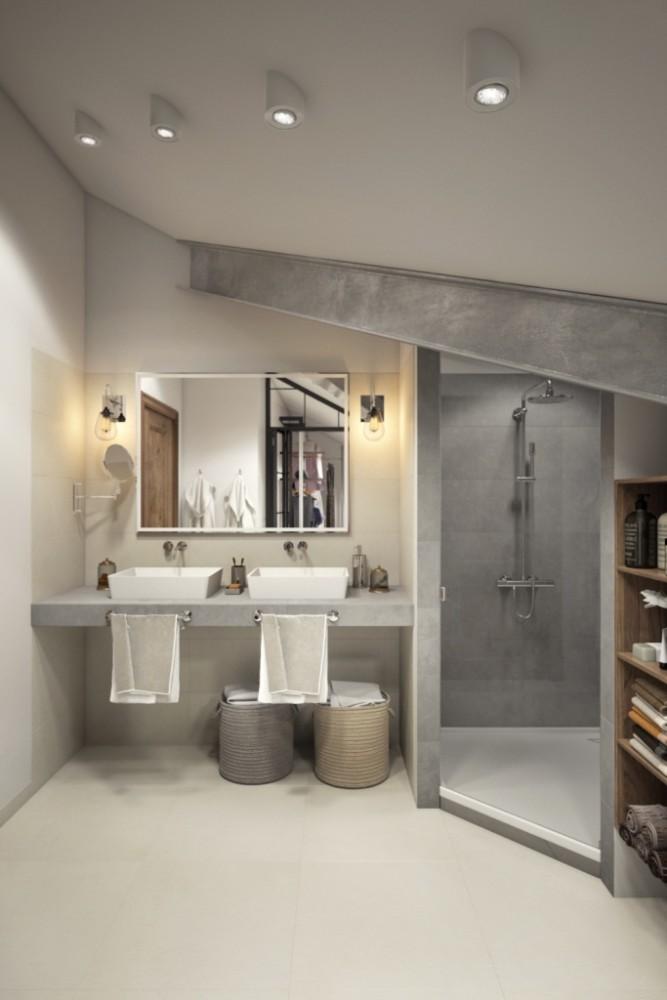 Заказчики изъявили желание иметь в личном санузле только душевую кабину, так как на этом этаже есть ванная комната для детей, с прекрасной отдельно стоящей ванной возле окна.