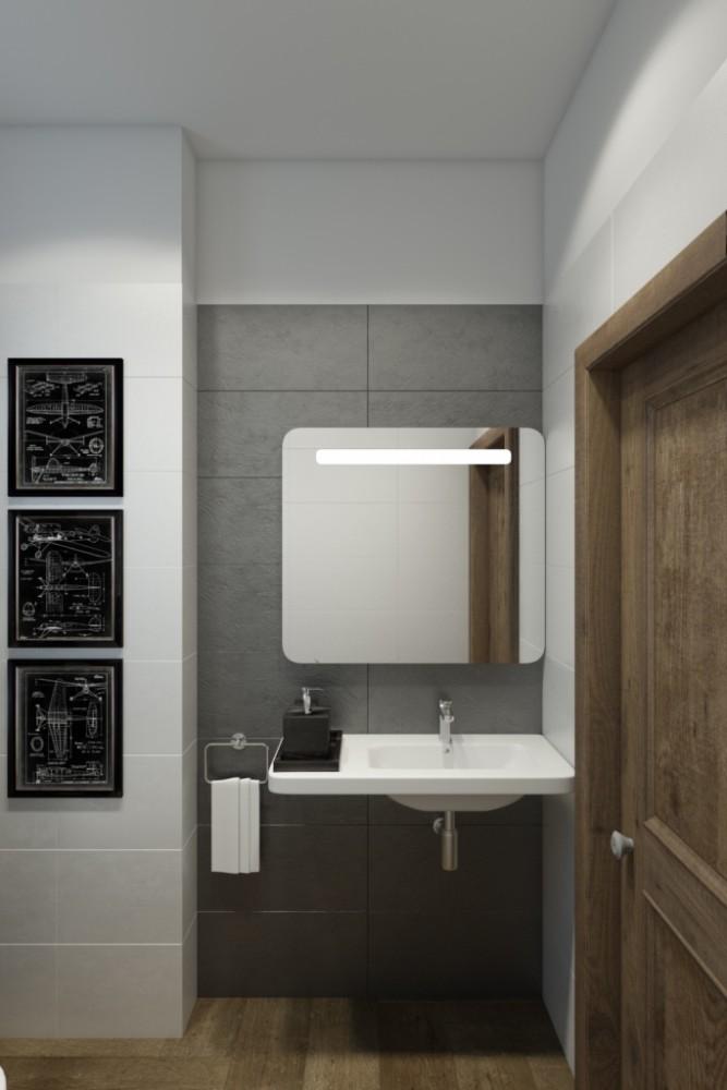 Гостевой туалет получился строгим и эффектным за счёт цвета и текстур. Чёрное на белом или белое на чёрном — классический акцентный приём.