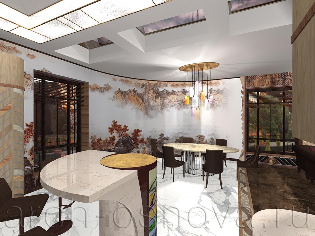 Радиусная стена в столовой зоне декорирована художественной росписью по мотивам утончённых восточных акварелей.