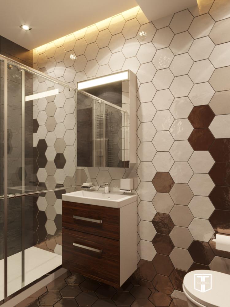 В ванной использованы плитка и керамогранит из разных коллекций, материалы отличаются по размеру и текстуре. Контраст — одно из главных правил удачного интерьера!