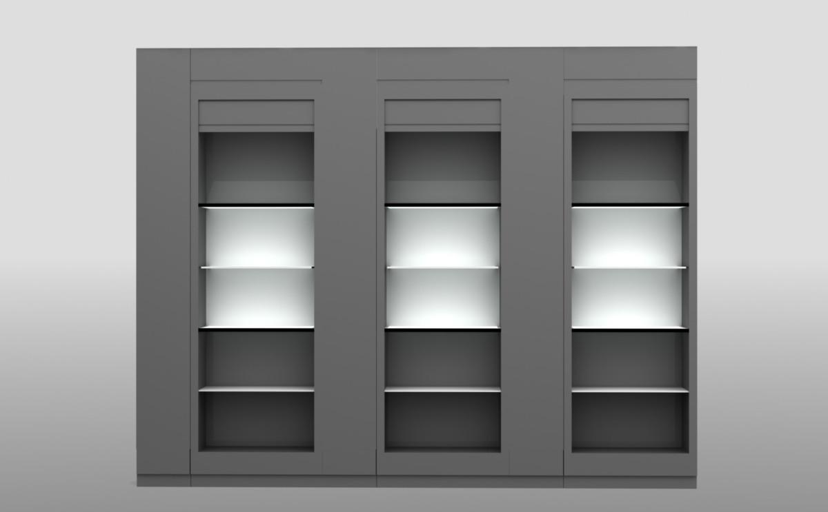 Рендер витрины зоны бутика справа от стойки ресепшен. На нем видно, как витрина должны была выглядеть, когда ее передали на изготовление на завод.