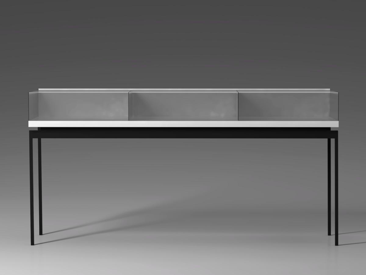 Проект отдельно стоящей витрины в зоне ресепш. Выдержана единая стилистика с маникюрными столиками, но работа осложнилась наличием выдвижных механизмов, необходимых для смены выкладки товара;