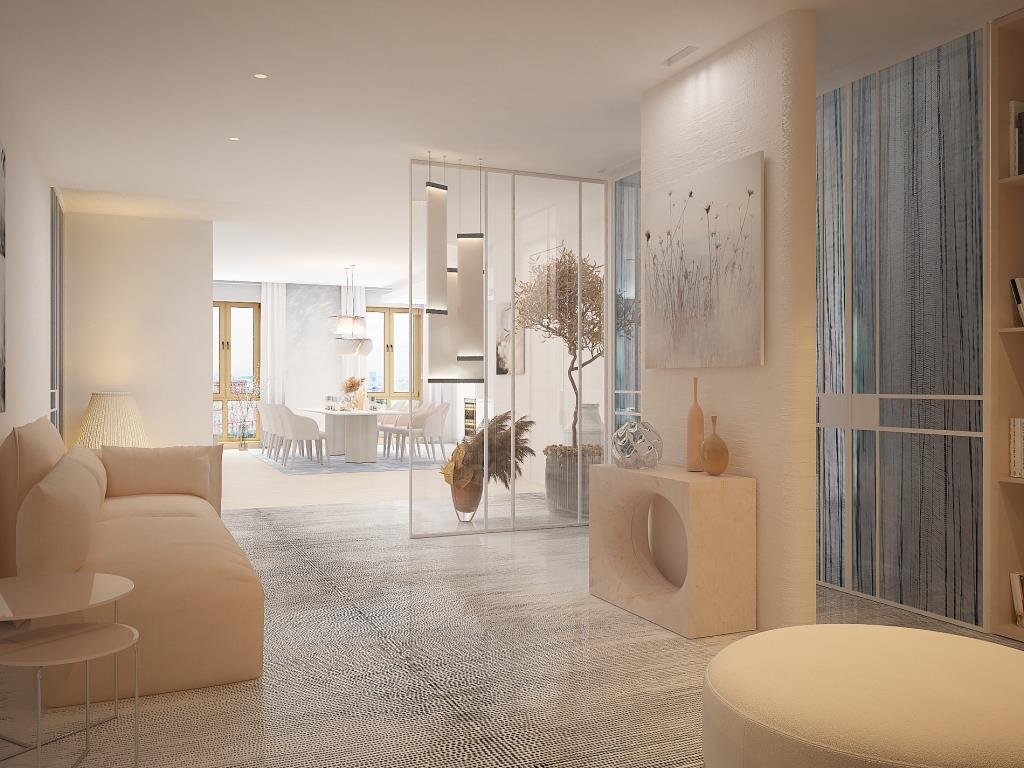 Очень светлый интерьер просторной квартиры в современном стиле
