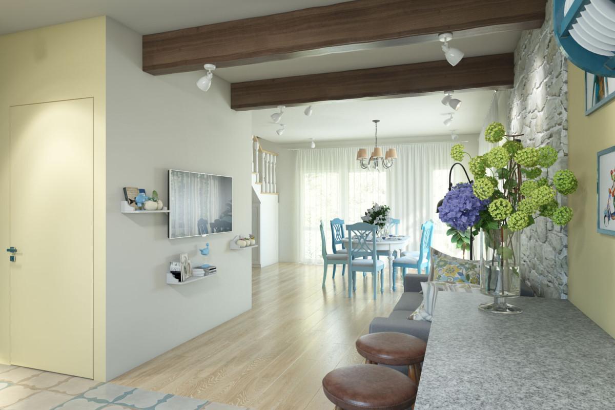 Самое большое помещение в доме — гостиная-столовая. Её площадь почти 60 метров.