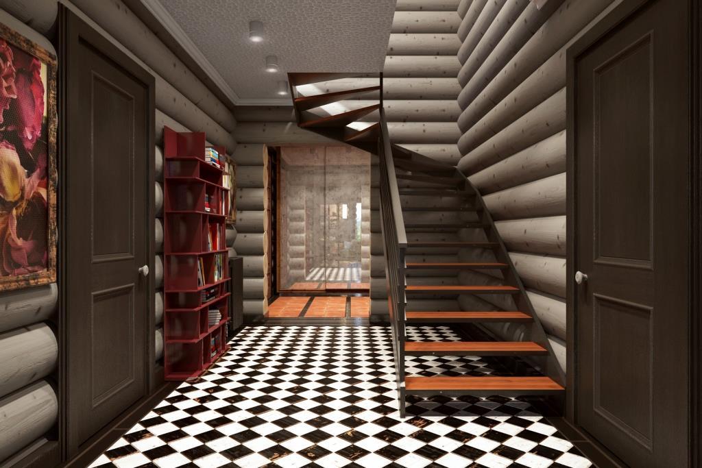 Обычно, дизайнеры мало уделяют внимания коридорам, считая их второстепенными помещениями, но на мой взгляд - это важное связующее звено. В коридоре нашего интерьера мы использовали черно-белый массив, который создает иллюзию нахождения на шахматной доске, где принимается решения о следующем шаге, возможно очень важном в будущем